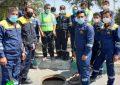 برگزاری مانور جاری شدن سیل به حوضچه گاز شهری، تخلیه و مرمت صدمات توسط اداره گاز کوار